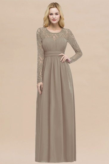 BMbridal Elegant Lace Burgundy Bridesmaid Dresses Online with Long Sleeves_16