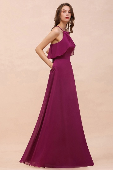 Stylish Spaghetti Straps Mulberry Chiffon Bridesmaid Dress with Ruffles_9