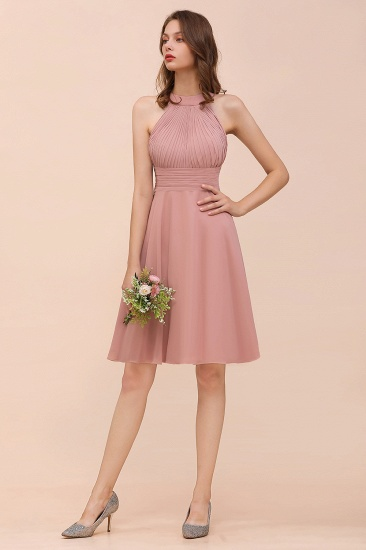 Affordable Dusty Pink Round Neck Ruffle Short Bridesmaid Dresses Online_6