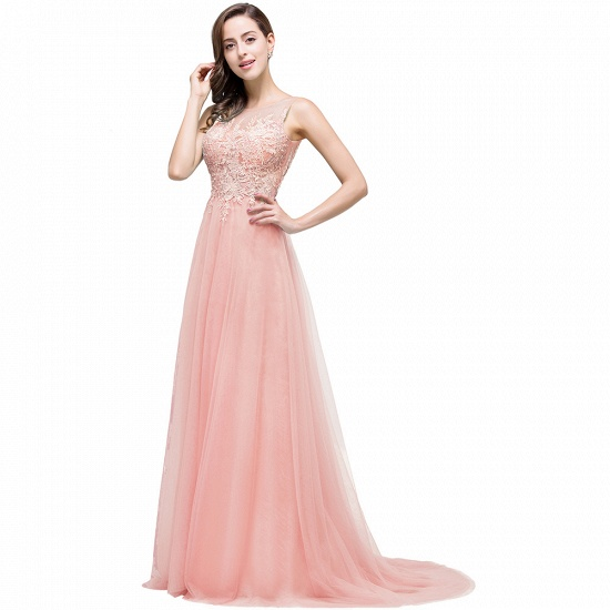 BMbridal A-line Court Train Tulle Evening Dress with Appliques_2