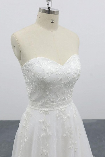 BMbridal Strapless Tulle Chapel Train A-line Wedding Dress On Sale_6