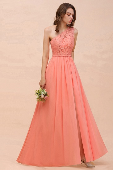 Gorgeous One Shoulder Slit Coral Chiffon Bridesmaid Dresses with Lace_4