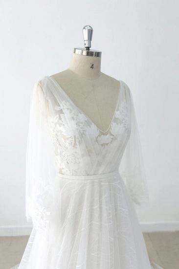 BMbridal Long Sleeve V-neck Appliques Tulle Wedding Dress On Sale_7