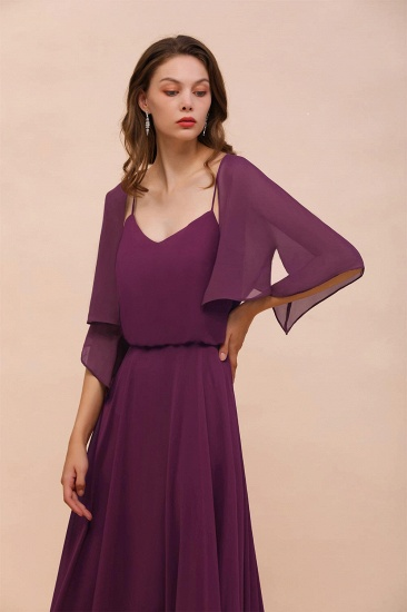 BMbridal Grape Chiffon 3/4 Sleeves Special Occasions Wrap_8