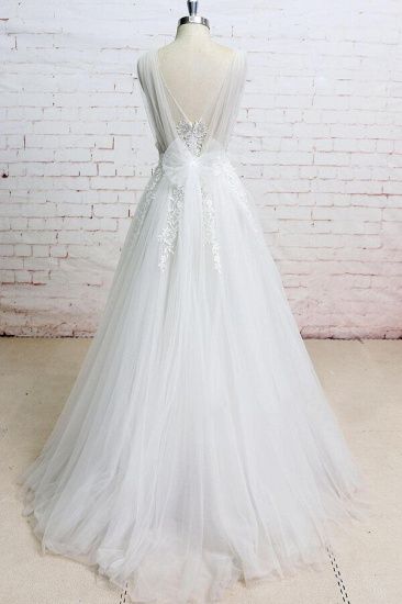 BMbridal Appliques Tulle Ruffle A-line Wedding Dress On Sale_3