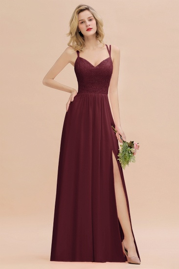 BMbridal Sexy Spaghetti-Straps Coral Lace Bridesmaid Dresses with Slit_10