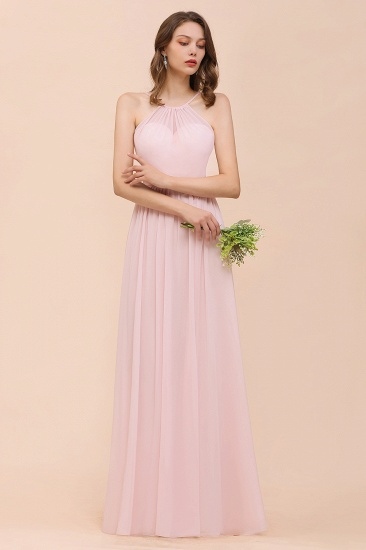 BMbridal Gorgeous Chiffon Halter Ruffle Affordable Long Bridesmaid Dress_53