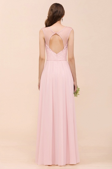BMbridal Elegant Pink Lace Straps Ruffle Affordable Bridesmaid Dress_3