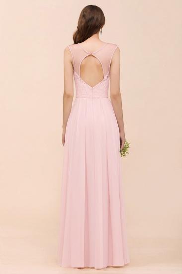 Elegant Pink Lace Straps Ruffle Affordable Bridesmaid Dress_3