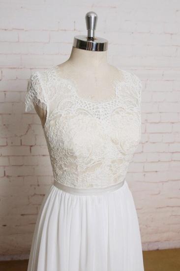 BMbridal Lace Chiffon A-line Court Train Wedding Dress On Sale_4