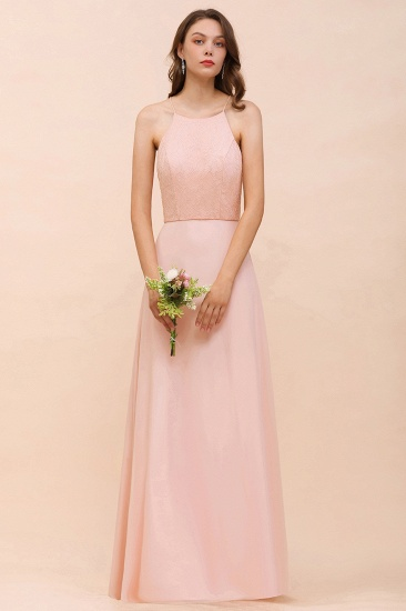 Elegant Lace Spaghetti Straps Affordable Long Bridesmaid Dress