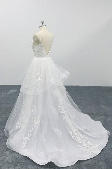 BMbridal Best Appliques Spaghetti Strap Tulle Wedding Dress On Sale_5