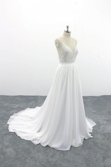 BMbridal Spaghetti Strap Lace Chiffon A-line Wedding Dress On Sale_4