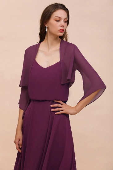 BMbridal Grape Chiffon 3/4 Sleeves Special Occasions Wrap_1