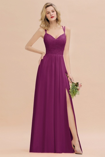BMbridal Sexy Spaghetti-Straps Coral Lace Bridesmaid Dresses with Slit_42