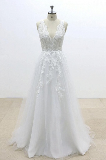 BMbridal Ruffle V-neck Appliques Tulle A-line Wedding Dress On Sale_1