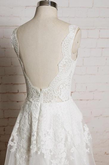 BMbridal Chic V-neck Appliques Tulle A-line Wedding Dress On Sale_5