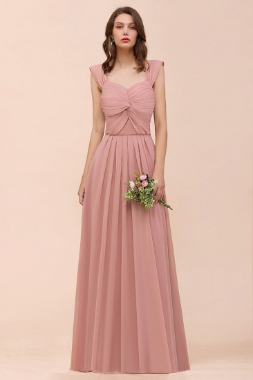 Vintage Mauve Chiffon Straps Ruffle Affordable Bridesmaid Dress_5