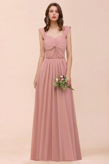 BMbridal Vintage Mauve Chiffon Straps Ruffle Affordable Bridesmaid Dress_5
