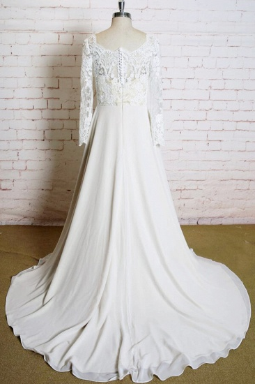 BMbridal Appliques Long Sleeve Chiffon A-line Wedding Dress On Sale_3