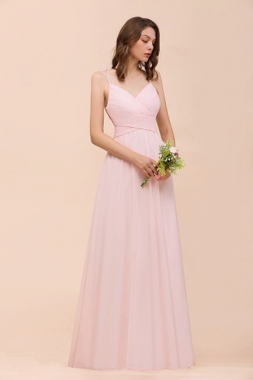 Gorgeous Chiffon Ruffle Blushing Pink Bridesmaid Dress with Spaghetti Straps_8