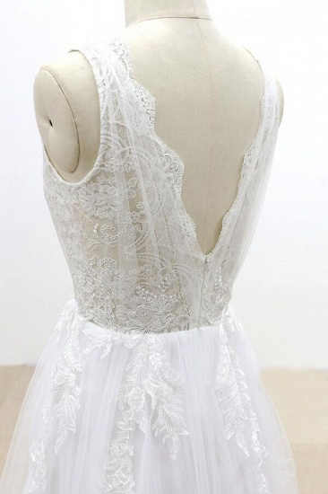 BMbridal Ruffle V-neck Appliques Tulle A-line Wedding Dress On Sale_7