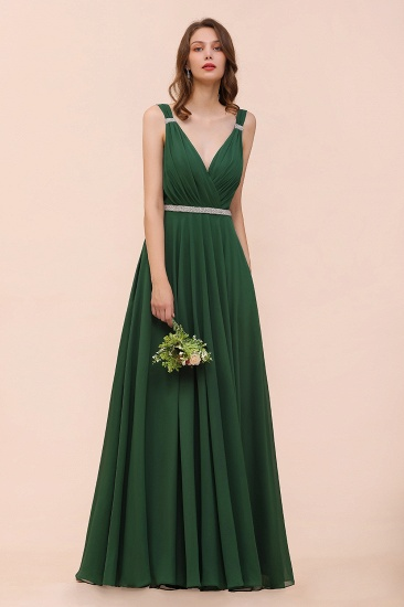Gorgeous Chiffon V Neck Ruffle Bridesmaid Dress with Beading Sash_6
