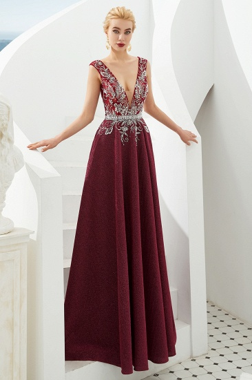 Shinning Bugrundy Crystal  Prom Dress Long V-Neck Sleeveless Evening Gowns_10