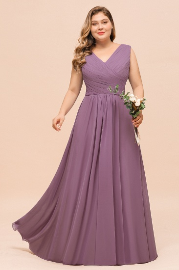 Elegant Wisteria Sleeveless Ruffle Plus size Bridesmaid Dress_4