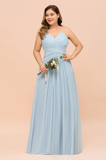 Plus Size V-Neck Ruffle Chiffon Sky Blue Bridesmaid Dresses Online_4
