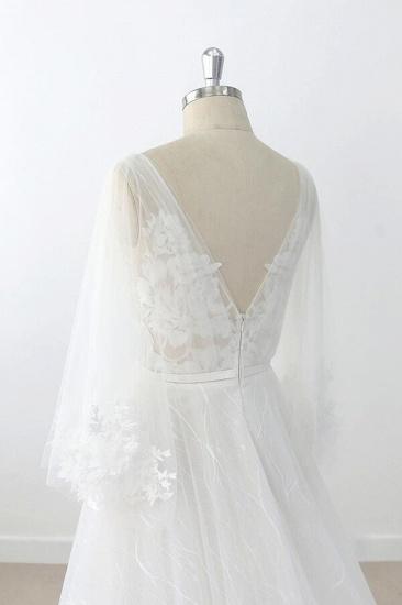 BMbridal Long Sleeve V-neck Appliques Tulle Wedding Dress On Sale_8