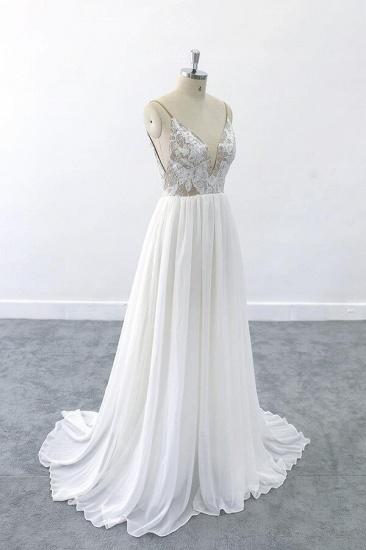 BMbridal Graceful V-neck Lace Chiffon A-line Wedding Dress On Sale_4