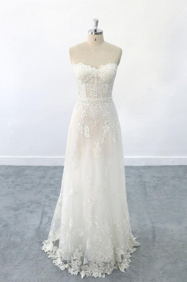 BMbridal Appliques Strapless Tulle Sheath Wedding Dress On Sale_1