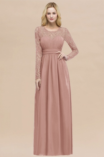 BMbridal Elegant Lace Burgundy Bridesmaid Dresses Online with Long Sleeves_50