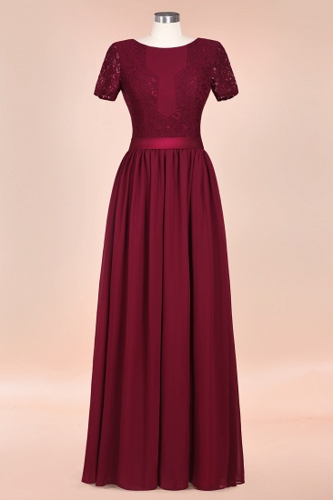 Elegant Chiffon Lace Jewel Short-Sleeves Affordable Bridesmaid Dress_61