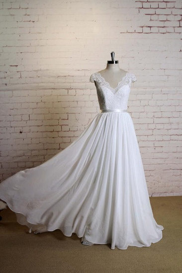 BMbridal Cap Sleeve A-line Lace Chiffon Wedding Dress On Sale_4
