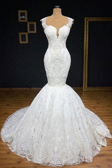 BMbridal Unique White Straps Mermaid Wedding Dresses With Appliques Tulle Ruffles Lace Bridal Gowns Online_1