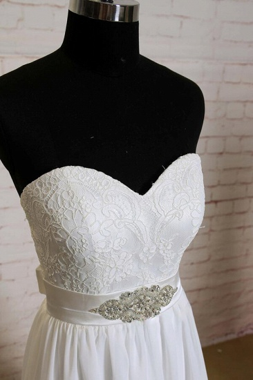BMbridal Strapless Lace Chiffon A-line Wedding Dress On Sale_4