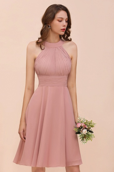 Affordable Dusty Pink Round Neck Ruffle Short Bridesmaid Dresses Online_9