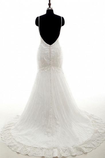 BMbridal Appliques Spaghetti Strap Mermaid Wedding Dress On Sale_3