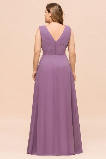 Elegant Wisteria Sleeveless Ruffle Plus size Bridesmaid Dress_3