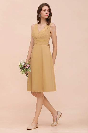 BMbridal Affordable V-Neck Ruffle Gold Short Bridesmaid Dresses with Bow_4