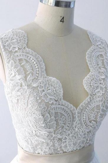 BMbridal Elegant V-neck Lace Tulle A-line Wedding Dress On Sale_6