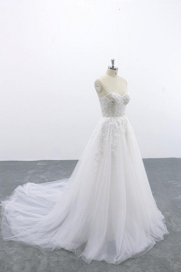 BMbridal Appliques Strapless Tulle A-line Wedding Dress On Sale_5
