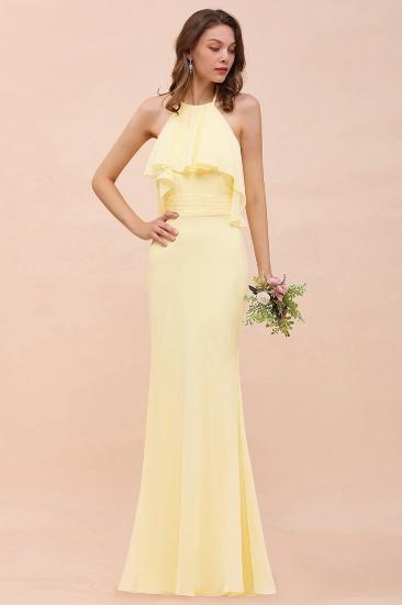 BMbridal Gorgeous Daffodil Mermaid Halter Ruffle Bridesmaid Dress_4