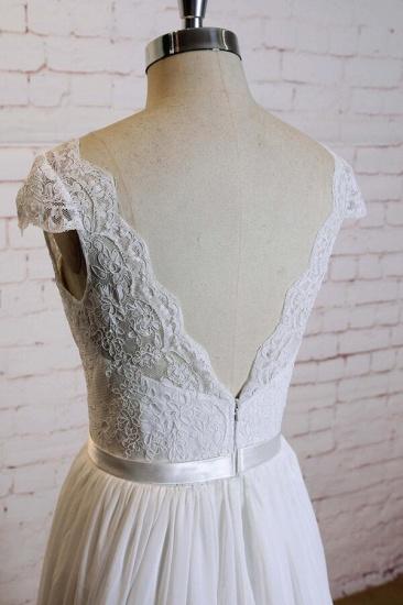 BMbridal Cap Sleeve A-line Lace Chiffon Wedding Dress On Sale_6