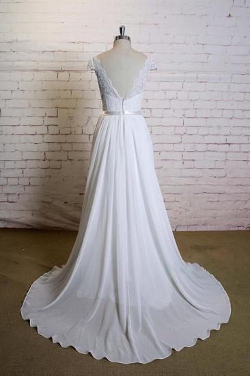 BMbridal Cap Sleeve A-line Lace Chiffon Wedding Dress On Sale_3