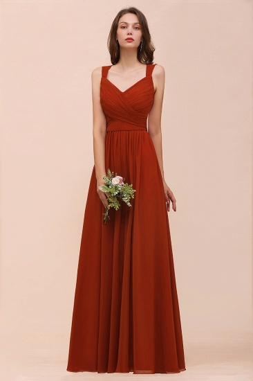 BMbridal New Arrival Gorgeous Straps Ruffle Rust Long Bridesmaid Dress_6