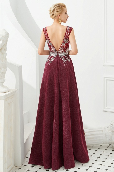 Shinning Bugrundy Crystal  Prom Dress Long V-Neck Sleeveless Evening Gowns_3