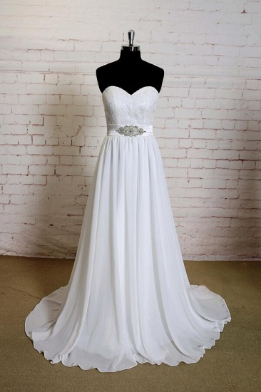 BMbridal Strapless Lace Chiffon A-line Wedding Dress On Sale_1